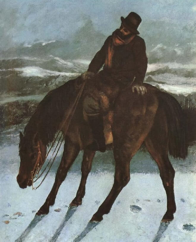 Hunter on Horseback Redcovering the Trail, 1864 by Gustave Courbet