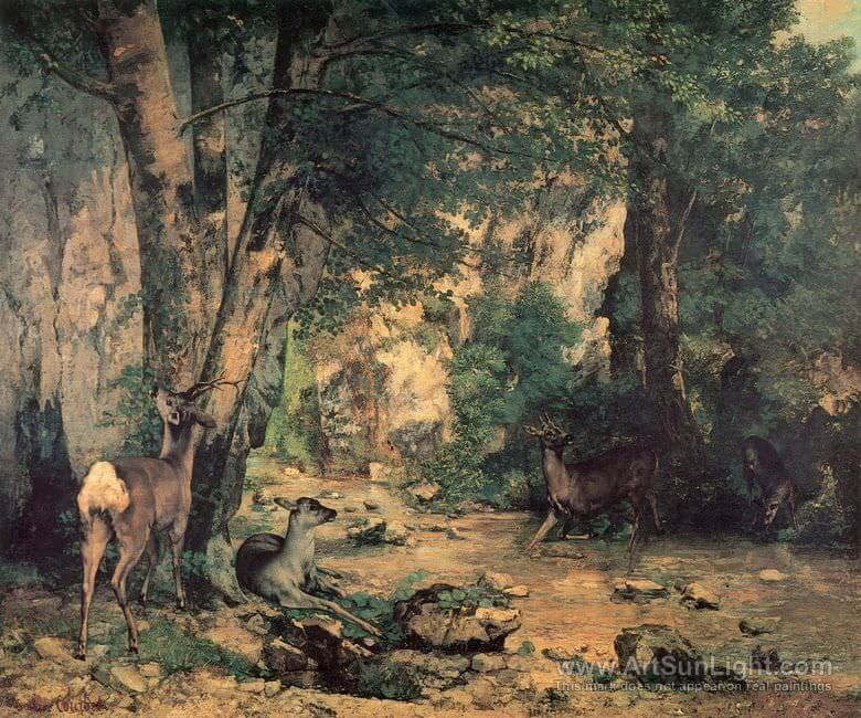 The Shelter of the Roe Deer at the Stream of Plaisir Fontaine Doubs by Gustave Courbet